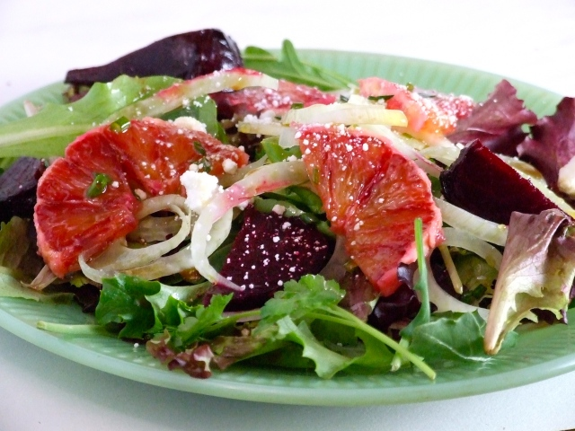 Roasted Beet Salad with Shaved Fennel, Blood Oranges and Goat Cheese ...
