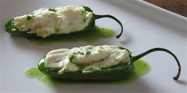 Stuffed Grilled Jalapenos with Cilantro Lime Drizzle