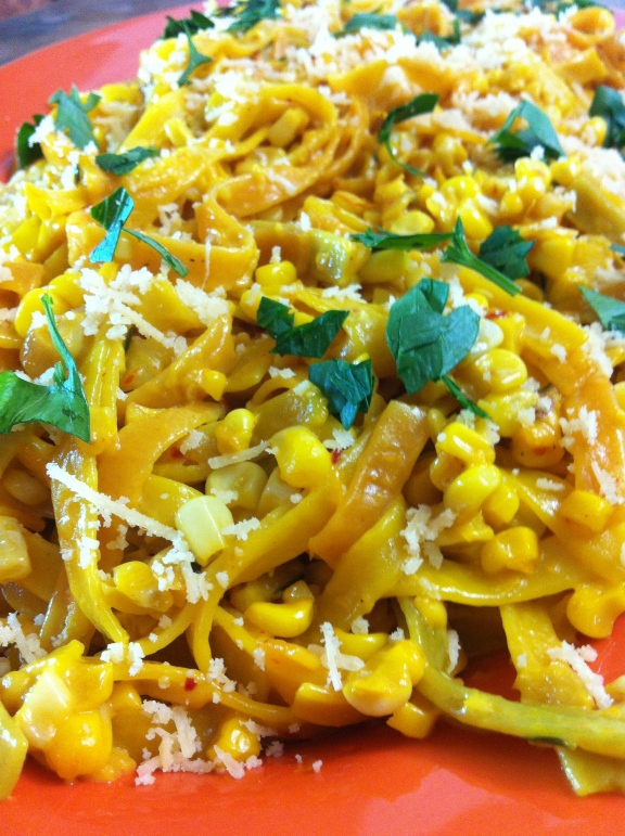 Creamy Saffron Tagliatelle with Corn