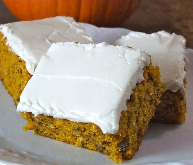 Nutty Pumpkin Bars with Cream Cheese Frosting